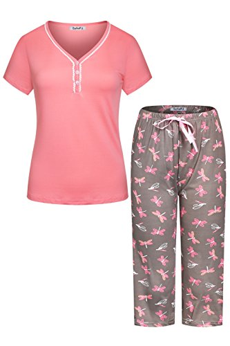 SofiePJ Women's Stretchy V Neck Short Sleeve Capri Pants Pajama Set Coral Grey M