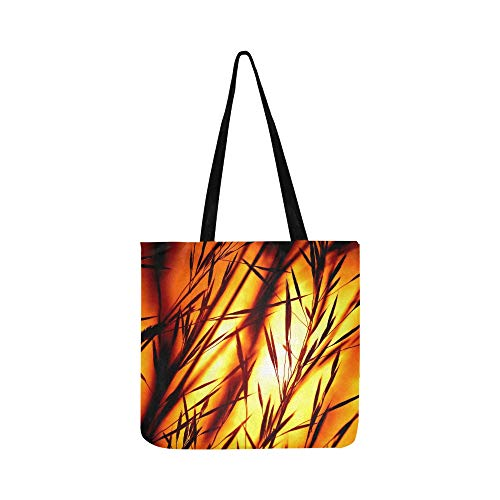 Sunset Grasses Silhouette Afterglow Bill Grass Canvas Tote Handbag Shoulder Bag Crossbody Bags Purses For Men And Women Shopping Tote (Saint Laurent Monogram Leather Cross Body Bag)