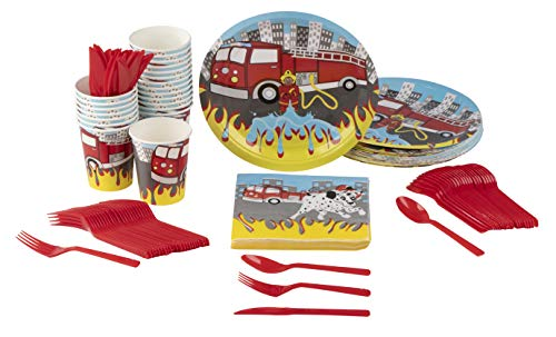 Disposable Dinnerware Set - Serves 24 - Firetruck Party Supplies for Kids Birthdays Includes Plastic Knives, Spoons, Forks, Paper Plates, Napkins, Cups