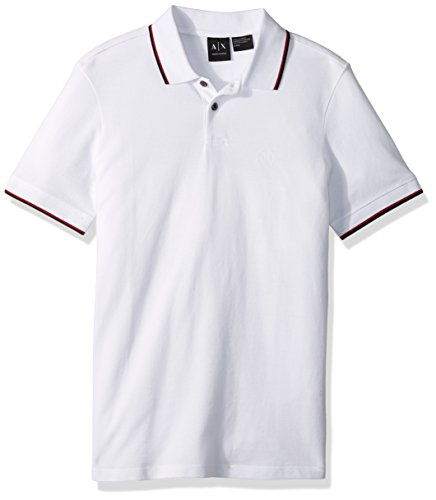 A|X Armani Exchange Men's Oxford AX Logo Polo, 1100 White, - Armani Polo Exchange
