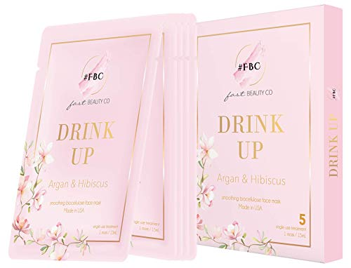 Fast Beauty Co. 5Count Drink Up Smoothing Bio Cellulose Face Mask with Argan & Hibiscus, 20 g ()