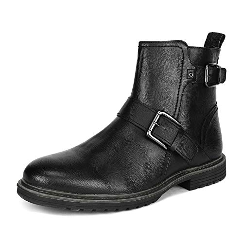 Bruno Marc Men's Philly_16 Black Combat Motorcycle Oxfords Boots Size 10 M US Ankle Boots Side Zipper