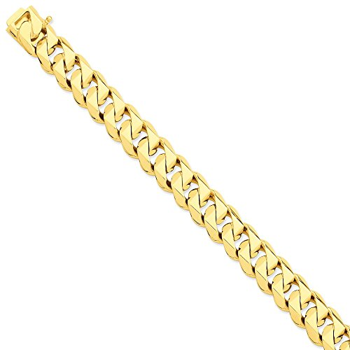 14k Yellow Gold 14mm Hand-Polished Traditional Link Chain Necklace for Men Women