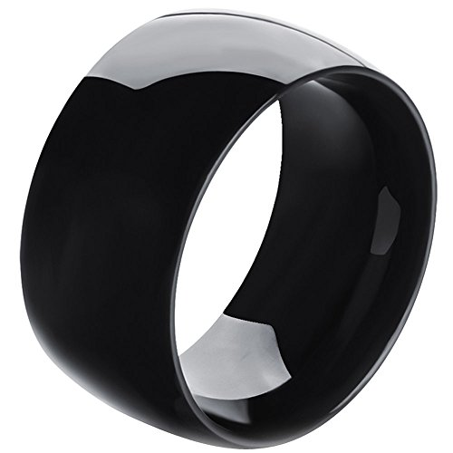 Men,Womens Wide 11mm Stainless Steel Ring Band Biker Fashion Black Classic Wedding Highly Polished