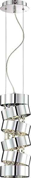 Eurofase 20389-017 Ariella Modern Crystal Round Mini Pendant Light, 1-Light 50 Watt, 17 H x 6 Dia, Chrome