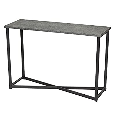 Household Essentials Slate Faux Concrete Sofa Table | Console Table for Entryway - TALL & NARROW LONG TABLE with black steel legs and concrete like apearance WOODEN TABLE looks like concrete but is lightweight MINIMALIST DESIGN with clean lines and small footprint - living-room-furniture, living-room, console-tables - 41 uhnEZK4L. SS400  -