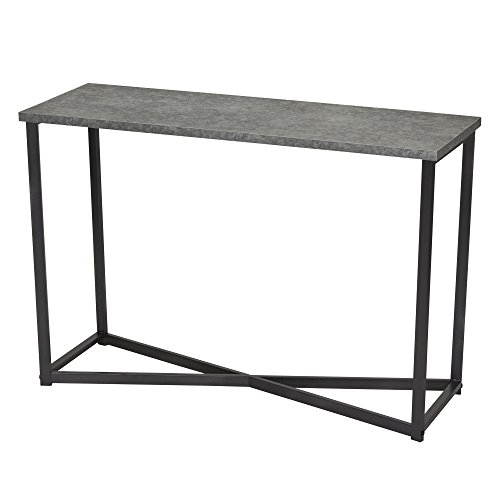 Household Essentials Slate Faux Concrete Sofa Table | Console Table for Entryway (Slate Side Top Tables Patio)