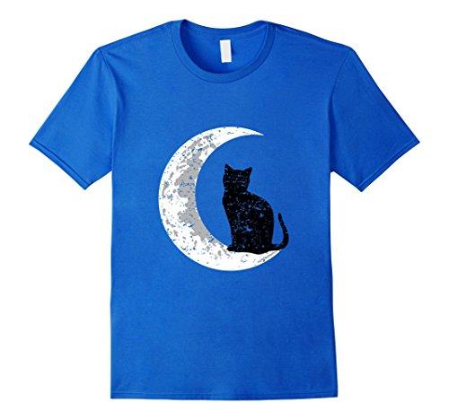 Full Moon Party Costume Ideas (Mens Black Cat T-Shirt - Crescent Moon Shirt Halloween Costume Medium Royal Blue)