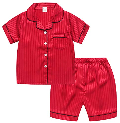 Little & Big Boys Girls Kids Satin Silk Pajamas Set 2 Pieces PJS Short Sleeve Button-Down Top + Shorts Sleepwear Loungewear, Red, MOM 2 = Tag S