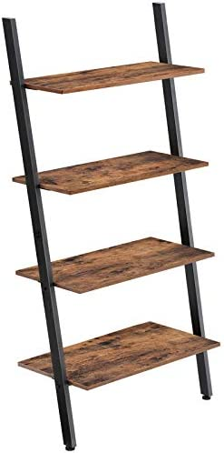 VASAGLE Industrial Ladder Shelf, 4-Tier Bookshelf, Storage Rack Shelves, for Living Room, Kitchen, Office, Iron, Stable, Sloping, Leaning Against The Wall, Rustic Brown ULLS43BX