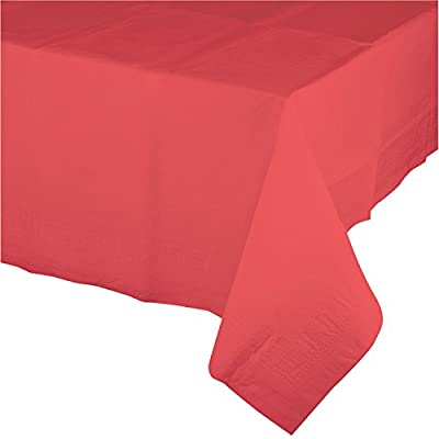 "Creative Converting 723146 Touch of Color Plastic Table Cover, 54 by 108"", Coral by Creative Converting"