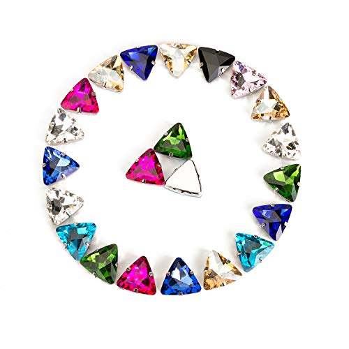 - Choupee Triangle 18mm Sew On Crystals in Silver Color Prong Setting Flat Back 24 Pcs Sew On Rhinestone Crystal Glass Beads Gemstones (Mixed Color, 18 MM)