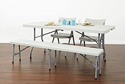 Office Star.. Resin Multi-Purpose Center Folding Bench, 6-Feet Long
