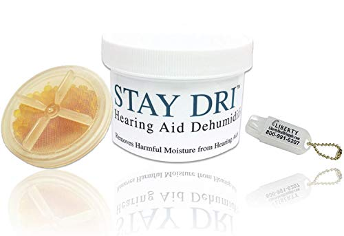 Stay Dri Hearing Aid Dehumidifier - Includes Free Liberty Keychain Hearing Aid Battery Holder (Hearing Aid Drying Case)