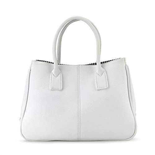Hoxis Classical Office Lady Minimalist Pebbled Faux Leather Handbag Tote/Magnetic Snap (White Leather Large Tote)