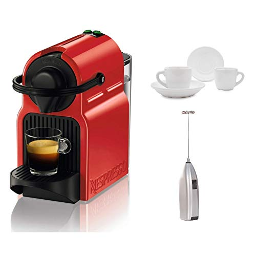 Breville BEC120RED1AUC1 Inissia Espresso Machine, 100, Red Includes Handheld Milk Frother and 2 Espresso Cups