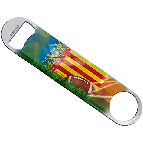 NEONBLOND Football with Flag Valencia region Spain Flat Beer Bottle Opener Heavy Duty Bartender by NEONBLOND