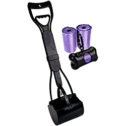 Mogoko Portable Jaw Clamp Poop Scooper Set with Poop Bag Holder and 40 Waste Bags for Outdoor Pet dog Puppy Cat Kitten (L, Black(Combo))