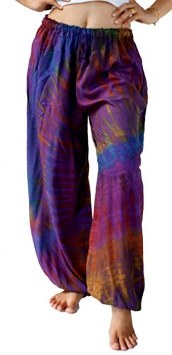Treasures of Thailand Real Tie Dye Pants Unisex Harem Hippy Beach Casual Wear Purple (Treasure Beach Pants)