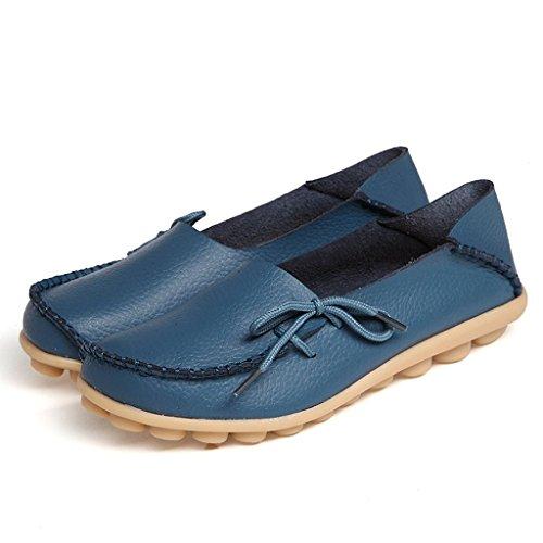 Oriskey Mocasines de cuero mujer Loafers Casual Zapatos Zapatillas Azul