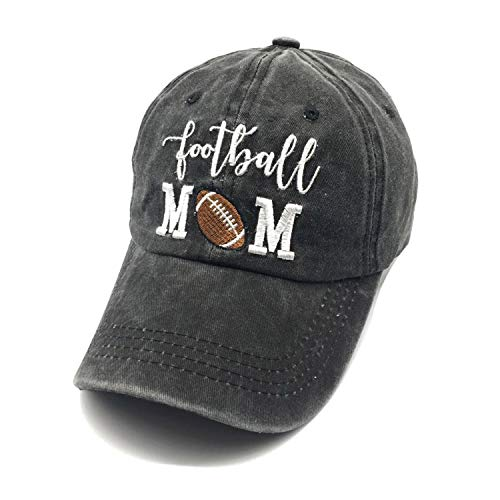 LOKIDVE Embroidered Football Mom Baseball Cap Women's Adjustable Washed Dad Hat Black Best Grandma Womens Cap