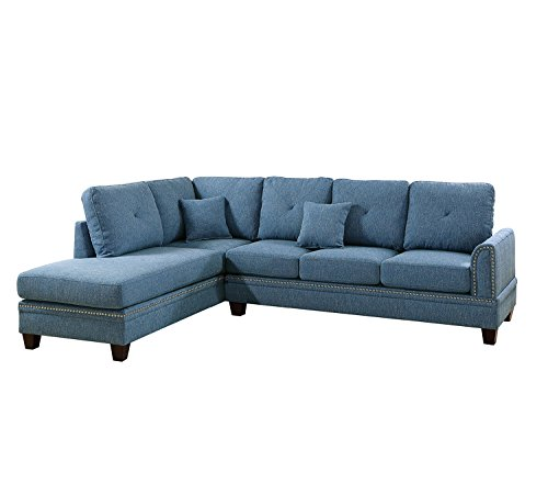Poundex PDEX- Sectional Set, Blue - Nailhead accent on Arm and Seat frame Seat Cushion Filled with foam and inner Spring for durability and comfort Interlocking insert to keep all pieces together - sofas-couches, living-room-furniture, living-room - 41 ukqbs DL -