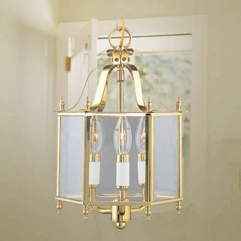 Brass Hanging Lantern (Livex Lighting 4403-02 Home Basics 3 Light Polished Brass Hanging Lantern or Flush Mount Chandelier with Clear Beveled Glass)