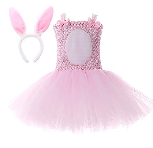 Easter Rabbit Cosplay Costume for Girls Plus Size Holiday Birthday Party Outfit (Pink Bunny, XX-Large(9-10Y))