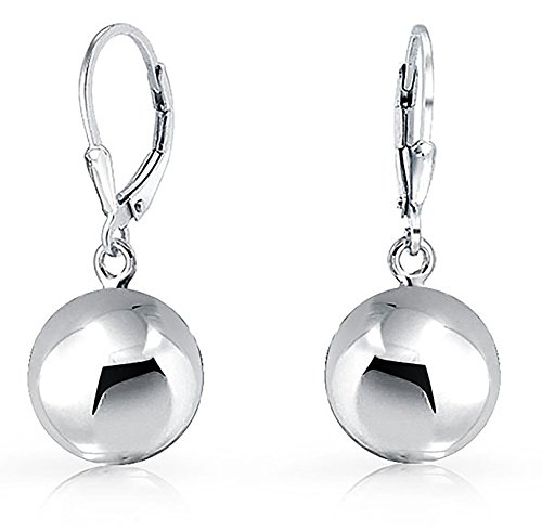 10 Mm Bead Drop (Bling Jewelry Sterling Silver 10mm Round Bead Ball Leverback Earrings)