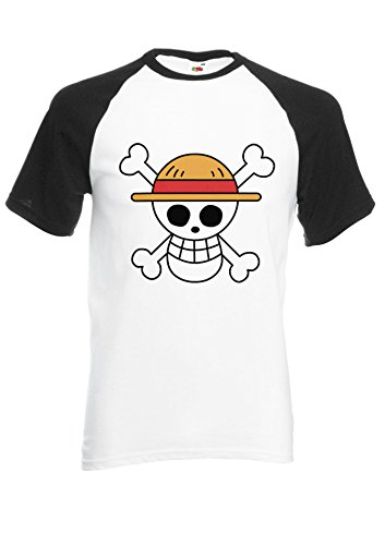 One Piece Flag Japanese Manga ????? Novelty Black/White Men Women Unisex Shirt Sleeve Baseball T Shirt-M