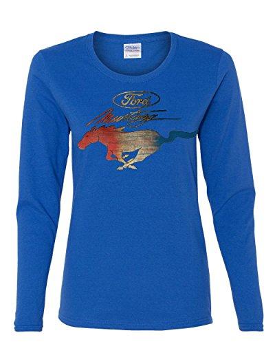 - Ford Mustang Logo Women's Long Sleeve T-Shirt GT Shelby Cobra Boss 302 Royal Blue M