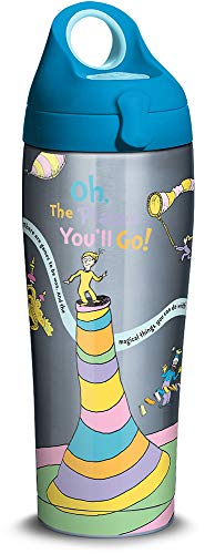(Tervis 1328600 Dr. Seuss - Oh The Places You'll Go Stainless Steel Insulated Tumbler with Lid, 24 oz Water Bottle, Silver)