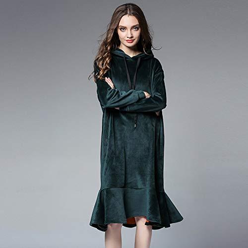 spessi seta di inverno senza donne autunno grandi cappello e verde impunture dimensioni di Liuxc più donna abito Abbigliamento collage tasche x866Zv