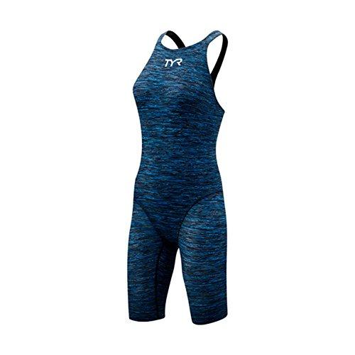 TYR Women's Thresher Baja Open Back Swimsuit (Blue, - Swimsuit Hydrophobic