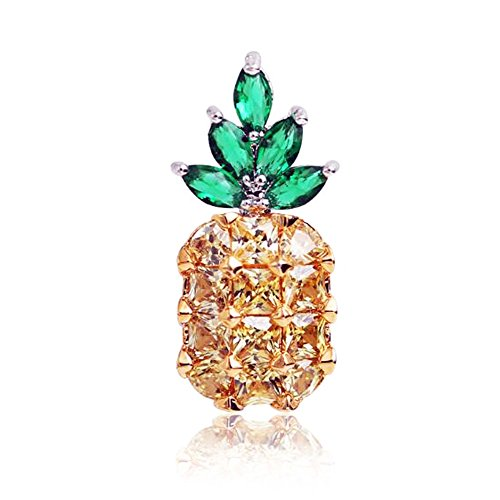 Shinywear Small Pineapple Lapel Pin Crystal Cubic Zirconia Brooches for Women Jewelry - Cute Fashion Girls Gifts to Decorate Scarf Hat Bag Dress Flower Bouquet from Shinywear