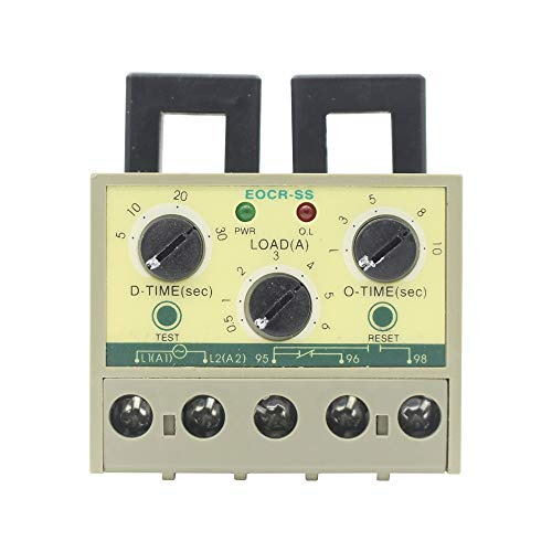 EOCR-SS 0.5-6A Overload Phase Loss Protection Relay independently Adjustable Starting Trip delay Electronic Overload Relay ()