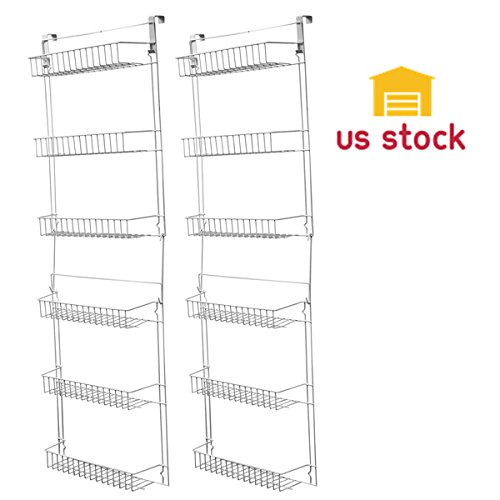 Thegood88 Over Door Kitchen Storage Basket Rack 5 Foot 6 Shelves Pantry Closet Set of 2