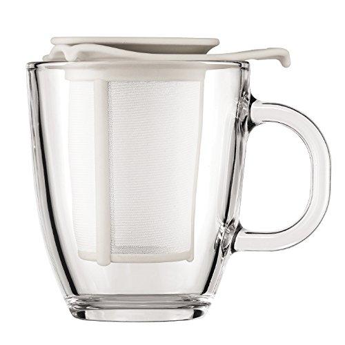 Bodum Yo-Yo Set Mug and Tea Strainer, 10-Ounce, Off-White - Bodum Teacups
