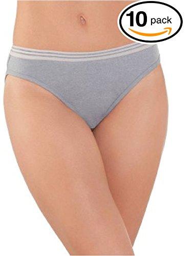Fruit Of The Loom Womens 10 Pack Cotton Bikini Panties (XX-Large / 9, Heather)