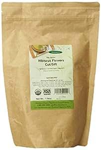 Davidson's Tea Bulk, Organic Hibiscus Flowers Cut and Sifted, 16-Ounce Bag