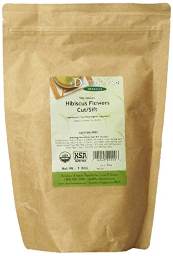 Davidson's Tea Bulk, Organic Hibiscus Flowers Cut and Sifted, 16-Ounce Bag