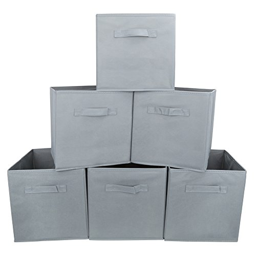Set of 6 Basket Bins- EZOWare Collapsible Storage Organizer Boxes Cube For Nursery Home Shelves and Office - Gray