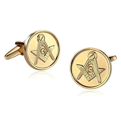 Epinki Stainless Steel Cufflinks Wedding Business Men's Jewelry Gift Masonic Freemason Compass Round Gold
