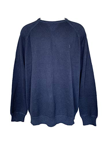(POLO RALPH LAUREN Men's Big & Tall Crew Neck Pullover Sweater Ribbed Long Sleeve Sweaters (3XLT, Navy Heather))
