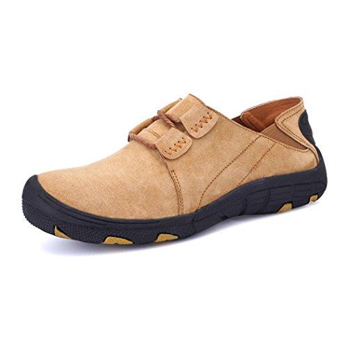 Heart&M zapatos de cuero de hombres negocios informal comodidad gamuza cuero baja Khaki