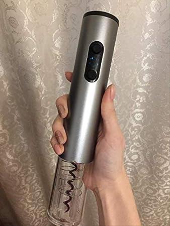 TETHYSUN Abridor de vino Sacacorchos eléctrico eléctrico abridor de vino con abridor de botellas automático de luz sacacorchos azul (color plata)