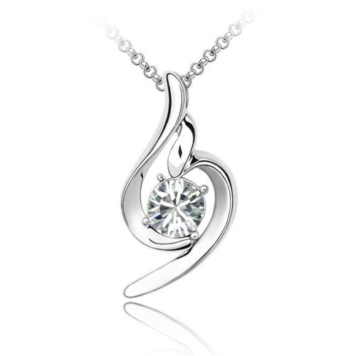 (LOCOMO Women Pendant Charm Chain Necklace 18K White Gold Plated Bling Rhinestone Crystal Clear Stone JNK058WHT)