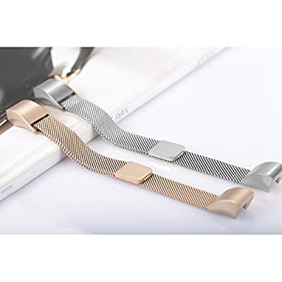 """For Fitbit Alta HR and Alta Bands, bayite Replacement Milanese Loop Stainless Steel Metal Bands Pack of 2 Small 5.5""""-6.7"""" Silver and Champagne Gold"""