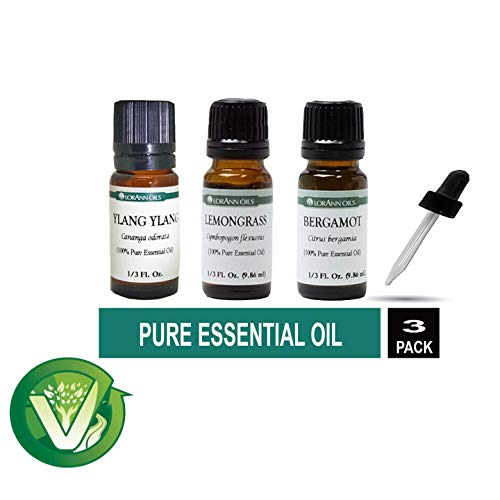 (Lorann Oils Pure Essential Oils 1/3 Ounce Variety- ( Ylang ylang, Bergamot, Lemongrass) with 1 Ounce Dropper (Includes VigorPath Sticker))