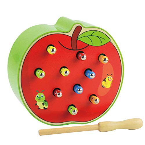 (CHoppyWAVE Fruit Shape Wooden Catch Colorful Worms Game Magnetic Stick Interactive Kids Toy Apple)